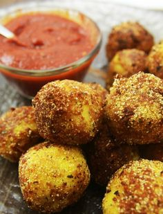 We love our goat cheese polenta! Now this could be making an appearance on our menus... | Crispy Polenta Balls