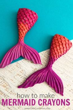 Learn how to make crayons shaped like mermaid tails! These are perfect for a mermaid birthday party. It's so easy once you know how to make crayons. Try these fun mermaid tails crayons. Kid's will love all the glitter! They are so pretty! #onecrazymom #mermaidtails #mermaidcraft #mermaidcrayons #memraidtail #summercraft #kidscraft Summer Crafts, Diy And Crafts, Crafts For Kids, Little Valentine, Valentines Diy, Biscuit, Making Crayons, How To Make Crayons, Diy Wood Wall