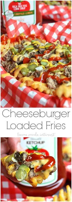 Loaded Cheeseburger Fries | These french fries are loaded with everything it takes to make a great cheeseburger. Ground beef, onions, pickles, cheese, and of course ketchup and mustard. Loaded Cheeseburger Fries are an awesome appetizer recipe for your next football party or a weeknight meal for the family. This loaded french fry recipe is going to blow your mind! #KetchupWithFrenchs #ad