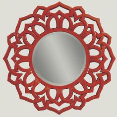 Lacquer Red Modern Petal Mirror ~ I've fallen in love with mirrors . . .