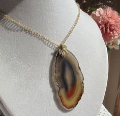Multibrown Agate Slice Pendant Necklace with Gold Plated Pewter Leaf Pinch Bail by SaraJewelryDesign on Etsy
