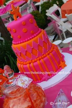 "The Baking Sheet: Tropical Themed Pink & Orange ""Sweet 16"" Cake!"
