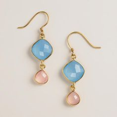 One of my favorite discoveries at WorldMarket.com: Blue Calcidone and Rose Quartz Double Drop Earrings