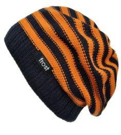 cd906895138 Amazon.com  Frost Hats M-147 Orange Navy Blue Slouchy Spring Beanie Striped