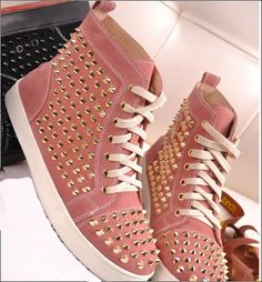 Leather High Top Sneakers for Women | Shoes / Athletic / New women casual rivets genuine leather high top ...