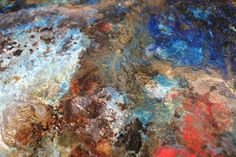 "Saatchi Online Artist Chantal Barlow; Painting, ""Playing on Saturn's Rings (close up)"" #art #painting #blue #white #red #texture #earth #space #painting #abstractart #chantalbarlow #texture"