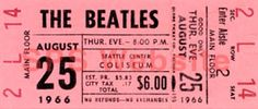 Beatles Concert Tickets - Seattle 8/25/66.  I was here!  And I had this ticket stub but the tornado sent it elsewhere.