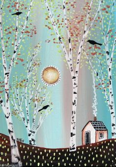 Cabin 5x7 inches Birch Trees Birds ORIGINAL Canvas Panel PAINTING FOLK ART Karla G...new painting for sale now...