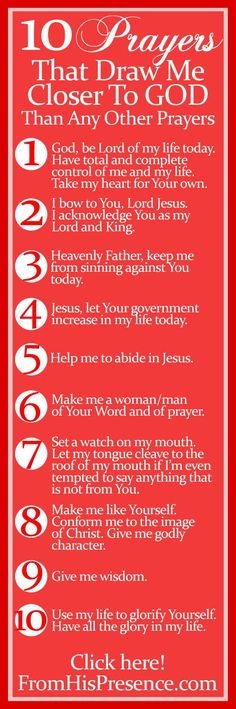 10 prayers that draw me closer to God than any other prayers (actually there's one bonus prayer)! Plus a free printable bookmark! God and Jesus Christ Prayer Scriptures, Bible Prayers, Bible Verses, Power Of Prayer, My Prayer, Prayer Wall, Daily Prayer, Prayer Ideas, Prayer Room