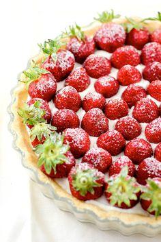 Cool creamy summertime Strawberry Mascarpone Whipped Cream Tart