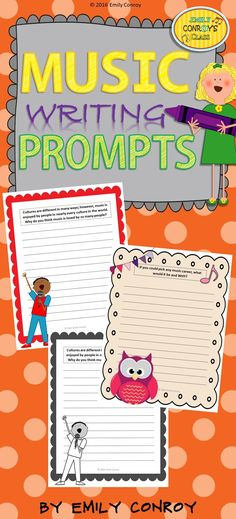 30 music writing prompts in black and white and color! Prompts include a variety of topics such as music careers, composers, instrument families, and more! Preschool Music Activities, Classroom Activities, Listening Activities, Classroom Organization, Classroom Ideas, Singing Lessons, Music Lessons, Music Journal, Middle School Music