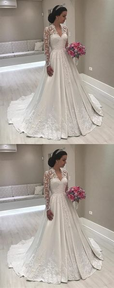 elegant vintage wedding dresses with train long sleeves, #wedding