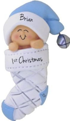 Too cute! Ornaments are always a great keepsake. Baby's First Christmas, Boy Christmas Ornament - FREE Personalization, Baby in Christmas Stocking Blue (comes in PINK too). www.WildMooseOrnaments.com
