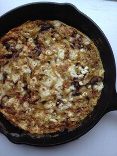 Mushroom, Caramelized Onion and Feta Frittata from themom100.com