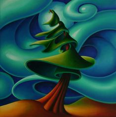Dana Irving Feeling the Wind 1 16 x 16 Landscape Illustration, Landscape Art, Landscape Design Program, Abstract Nature, Abstract Art, Canadian Artists, Tree Art, Oeuvre D'art, Painting Inspiration
