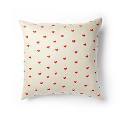 """Mini Hearts Pillow in Poppy Red • 20"""" x 20"""" • 3-button closure   LINT and HONEY"""