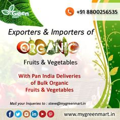 Exporters & Importers of Organic Fruits & Vegetables. #FarmFresh #Heart #Eat #Plenty #Body #Wealthy #Fruits #Healthy #Veggies #Fruits #Grains #Eat #Veggies #BuyOnline #Buy #Online #Order #OrderOnline #Vegetables #Fruits #Grocery #Exotic #Market #Imported #Local #Eat #Food #Cook #Cooking #Women #Green #Healthy #HealthyEating #HealthyLife #Life #Diet #DietFood #Vegetarian #Snacks #HealthyFood #Bite #Home Healthy Life, Healthy Eating, Diet Recipes, Healthy Recipes, Organic Fruits And Vegetables, Vegetarian Snacks, Grains, Exotic, Veggies