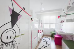 Unusual Decal On Clear Cabinets Door Inside Bedroom Near Contemporary Kids Furniture Along With Clear Bunk Bed
