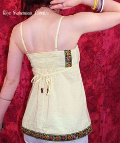 Bohemian top babydoll shirt light yellow dotted Boho Hippie style summer festival Upcycled Recycled clothing OOAK by TheBohemianDream, €25.00