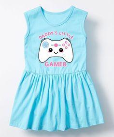 Aqua 'Daddy's Little Gamer' Sleeveless Dress - Toddler & Girls