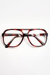 Authentic Vintage Thick Plastic Aviator Glasses - Tortoise