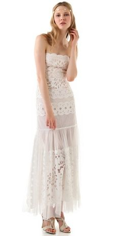 The floral eyelet details make this #dress perfect for a bohemian style beach #wedding!  BCBGMAXAZRIA The Aurora Gown from http://shopbop.com/aurora-gown-bcbgmaxazria/vp/v=1/845524441944289.htm?folderID=2534374302172081=browse-brand-shopbysize-viewall=13194  Photo Credit: http://shopbop.com