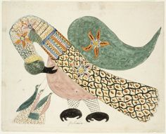 RISD Museum: Mary Ann Willson, American, active 1818-1829. Pelican with Young, ca. 1818-1829. Watercolor and pen and ink on paper. 32.7 x 40.8 cm (12 7/8 x 16 1/16 inches). Jesse Metcalf Fund 44.092