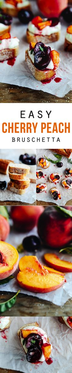 Cherry Peach Bruschetta spread over a Honey Garlic Goat Cheese and served on a toasted whole wheat baguette. The perfect summer appetizer, breakfast, brunch, and dessert! Mini Desserts, Delicious Desserts, Yummy Food, Fresco, Oreo Dessert, Lunch Snacks, Goat Cheese, Garlic Cheese, Bruschetta