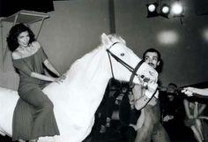 Bianca Jagger white horse
