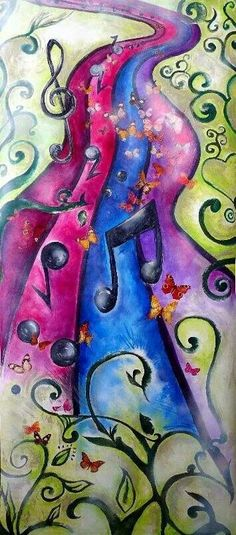 Music path prophetic art with swirly vines. Music Notes, Creative, Prophetic Art, Art Music, Painting, Visual Art, Art, Abstract, Musical Art