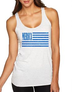 4b8920e6ce8c2 Women s Tank Top Merica Glitter Blue Flag 4th Of July