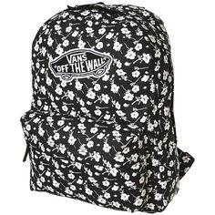 Vans Realm Backpack ($36) ❤ liked on Polyvore featuring bags, backpacks, graphite, floral backpack, vans backpack, floral rucksack, zipper bag and flower print backpack