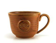 Gift Idea for the mustache lover in your life :) Mustache Coffee Mug Brown Moustache Ceramic by MiriHardyPottery  #MiriHardyPottery #etsyfind #chaoscurators