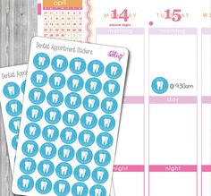 Dentist Appointment Planner Stickers  D  Dentist Appointment