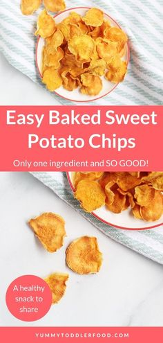 How to Make Homemade Baked Sweet Potato Chips! These Homemade Baked Sweet Potato Chips are thin, crispy, and made without oil or added salt. They're an easy homemade veggie chip to enjoy together! This recipe is super easy and i love packing these in a lunch for my kids or taking them to the park as a healthy snack. #SweetPotatoChips  #VeggieChips #ToddlerSnack #GlutenFree Healthy Snacks To Make, Savory Snacks, Easy Healthy Recipes, Veggie Recipes, Snack Recipes, Healthy Kids, Yummy Snacks, Healthy Meals, Crispy Sweet Potato Chips