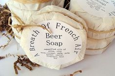 Beer Soap by A Breath of French Air - Coffee filters as soap packaging