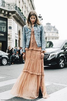 PFW Paris Fashion Week Spring Summer 2016 Street Style Chloe Dress Long Maxi Denim Jacket Veronika Heilbrunner