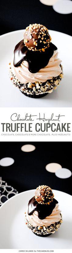 Chocolate Truffle Cupcake   dark chocolate ganche, milk chocolate buttercream, more ganache and a hazelnut truffle   by Carrie Sellman for TheCakeBlog.com