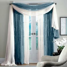 Blue & White Scarf Curtains. Hang them like this, but maybe more earth tone in color.