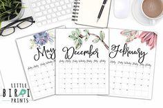 Calendar 2018, Watercolor Cactus, Desk Calendars, Getting Organized, As You Like, Card Stock, Print Design, Succulents, Handmade Items