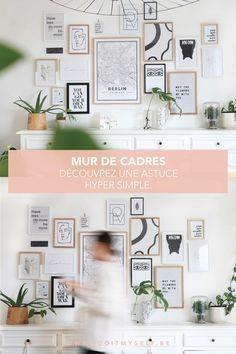 DECO FACILE : Je partage avec vous mon astuce pour un mur de cadre digne de pinterest en toute simplicité! Cliquez sur la photo pour plus d'infos #DECOHACKS #DECOTIPS #CONSEILSDECO #MURDECADRES Wall Design, Diy And Crafts, Sweet Home, Gallery Wall, Wall Decor, Simple, Frame, Inspiration, Home Decor