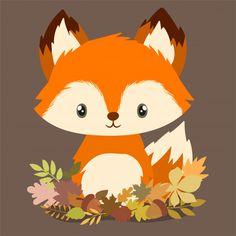 Little fox entre folhas de outono Vetor . Fuchs Illustration, Cute Illustration, Cute Cartoon Animals, Cute Animals, Cute Drawings, Animal Drawings, Art Fox, Illustration Mignonne, Art Mignon