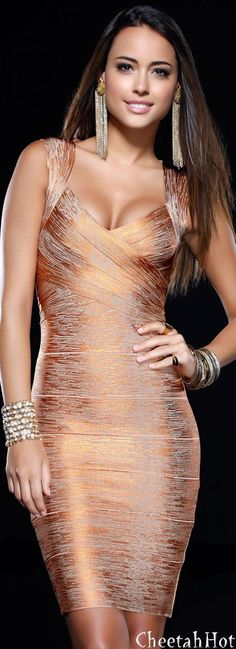 SHAIL K - Gorgeous Gold Dress..Awesome and slinky....  HotWomensClothes.com