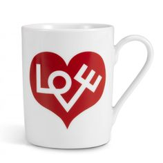 This Love Mug from Vitra features the iconic 'Love' design by Alexander Girard. Vitra Furniture, Lagom Design, Heart Cards, Foil Stamping, Love Design, Be My Valentine, Drinking Tea, Love Heart, Paper Goods