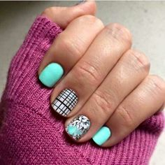 Serene and Metro Jamberry Nail Wraps with gel or lacquer.  What a fun mixed mani!  Emily Nelson-Jamberry Independent Consultant enchantingjams.jamberry.com