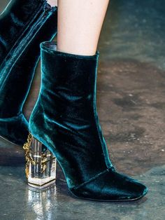 Report: Velvet Shoes Teal velvet boots with lucite embellished heels at Roberto Cavalli F/W velvet boots with lucite embellished heels at Roberto Cavalli F/W 15 Dr Shoes, Cute Shoes, Me Too Shoes, Shoes Heels, Shoes Sneakers, Unique Shoes, Yeezy Shoes, Nude Heels, Trendy Shoes