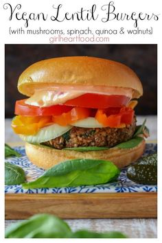 These Vegan Lentil Burgers are packed with good for ya ingredients like lentils, mushrooms, quinoa and spinach. Easy, hearty and delicious, these easy veggie burgers are sure to be on your regular burger rotation! Vegan Lentil Burger, Lentil Burgers, Meatless Burgers, Vegan Burgers, Real Food Recipes, Vegetarian Recipes, Healthy Recipes, Healthy Eats, Delicious Recipes