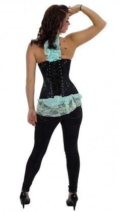 Double Steel Boned Longline Corset in Floral Brocade (CS-426)-New at Orchard Corset $79