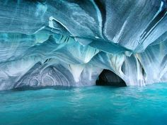 Marble Cave, Chile Chico, Chile – The most spectacular caves network in the world and this Marble Cathedral  is absolutely magnificent.  It's located in Patagonia, Chile on the second largest freshwater lake in South America