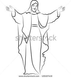 jesus christ sketch easy drawing pencil drawings shutterstock bible statue redeemer bing study